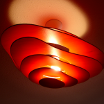 plafond lamp hout rood
